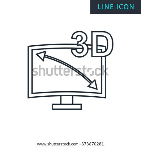Modern thin line icon of 3d tv. Premium quality outline symbol. Simple mono linear pictogram, drawing, art, sign. Stroke vector logo concept for web graphics.  - stock vector