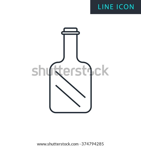 Modern thin line icon of glass bottle. - stock vector