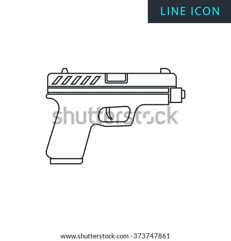 Modern thin line icon of gun. Premium quality outline symbol. Simple mono linear pictogram, drawing, art, sign. Stroke vector logo concept for web graphics.  - stock vector