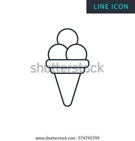 Modern thin line icon of Ice Cream.  - stock vector