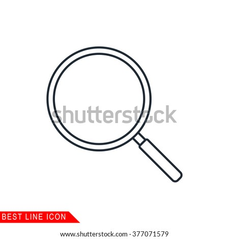 Modern thin line icon of Magnifier Glass, search. Premium quality outline symbol. Simple mono linear pictogram, drawing, art, sign. Stroke vector logo concept for web graphics.  - stock vector
