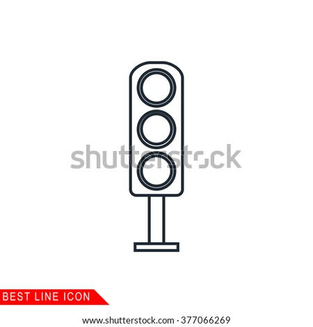 Modern thin line icon of Traffic light. Premium quality outline symbol. Simple mono linear pictogram, drawing, art, sign. Stroke vector logo concept for web graphics.  - stock vector