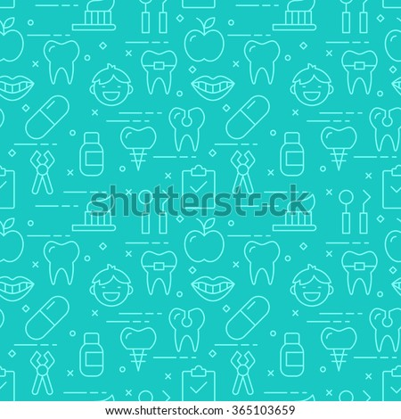 Modern thin line icons seamless pattern for dental care web graphics and design. Vector illustration - stock vector
