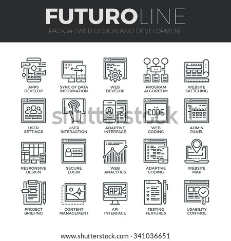Modern thin line icons set of adaptive website customization, web develop process. Premium quality outline symbol collection. Simple mono linear pictogram pack. Stroke vector logo concept, web graphic - stock vector