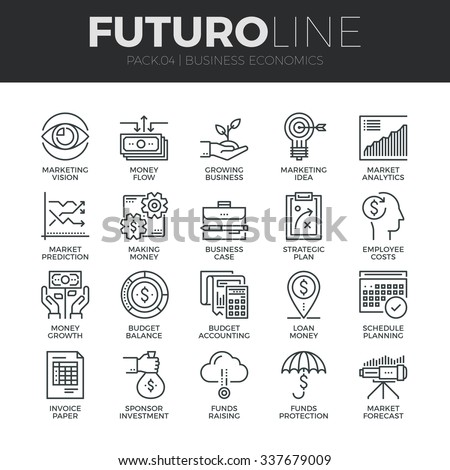 Modern thin line icons set of business economic development, financial growth. Premium quality outline symbol collection. Simple mono linear pictogram pack. Stroke vector logo concept for web graphics - stock vector