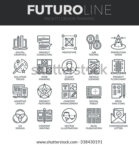 Modern thin line icons set of content production studio, solution projecting. Premium quality outline symbol collection. Simple mono linear pictogram pack. Stroke vector logo concept for web graphics. - stock vector