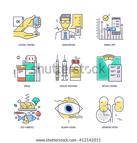 Modern thin line icons set of diabetes live. Premium quality outline signs collection. Stock vector illustration in flat design. - stock vector