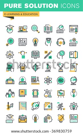 Modern thin line icons set of distance education, online learning, teaching, university and courses, e-book and digital library. Outline icon collection for website and app design. - stock vector