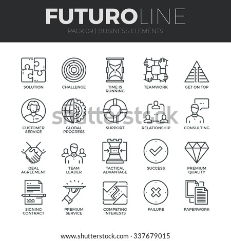 Modern thin line icons set of doing business elements, solution for clients. Premium quality outline symbol collection. Simple mono linear pictogram pack. Stroke vector logo concept for web graphics. - stock vector
