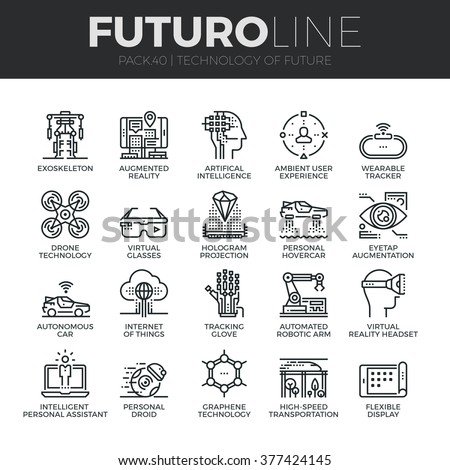 Modern thin line icons set of future technology and artificial intelligent robot. Premium quality outline symbol collection. Simple mono linear pictogram pack. Stroke vector logo concept, web graphics - stock vector