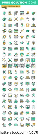 Modern thin line icons set of graphic design, logo design, stationary, photo editing, website design and development, app development, seo, cloud computing, internet security. - stock vector