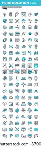 Modern thin line icons set of graphic design, photography, branding, corporate identity, stationary, logo and product design, app and website development, optimization. Outline icon collection. - stock vector