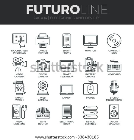Modern thin line icons set of home electronics and personal multimedia devices. Premium quality outline symbol collection. Simple mono linear pictogram pack. Stroke vector logo concept for web graphic - stock vector