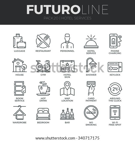 Modern thin line icons set of hotel service amenities, rent house facilities. Premium quality outline symbol collection. Simple mono linear pictogram pack. Stroke vector logo concept for web graphics. - stock vector