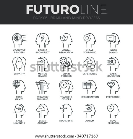 Modern thin line icons set of human mind process, brain features and emotions. Premium quality outline symbol collection. Simple mono linear pictogram pack. Stroke vector logo concept for web graphics - stock vector