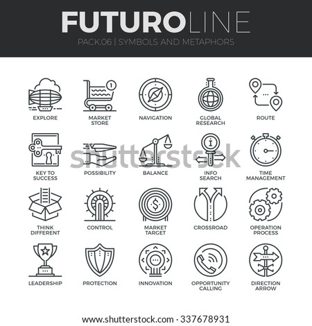 Modern thin line icons set of various business symbols and metaphor elements. Premium quality outline symbol collection. Simple mono linear pictogram pack. Stroke vector logo concept for web graphics. - stock vector