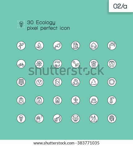 Modern thin line pixel perfect icons set.Ecology and recycle  symbol collection. - stock vector