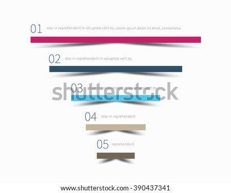 modern thin lines with size value, 5 options pyramid / infographic upward graph with shadow - stock vector