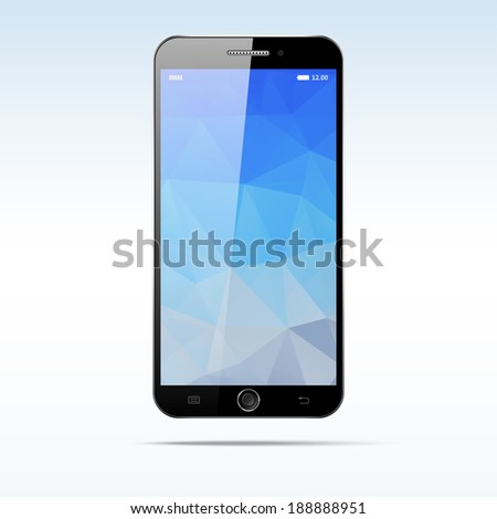 Modern touchscreen android smartphone isolated on light background. Blank polygonal screen - stock vector