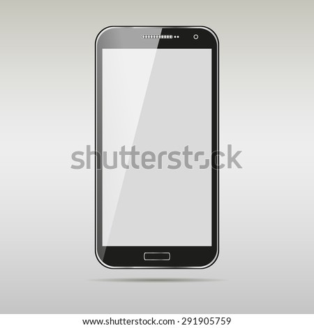 Modern touchscreen cellphone tablet smartphone isolated on light background. vector - stock vector