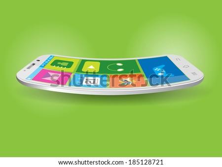 Modern Touchscreen Curved Mobile Vector Illustration - stock vector