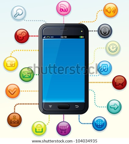 Modern Touchscreen Smart Phone with Apps Icons - stock vector