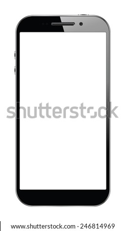 Modern touchscreen smartphone isolated on white background. EPS10 vector  - stock vector