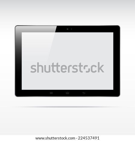 Modern touchscreen tablet computer isolated on light background. Blank screen - stock vector