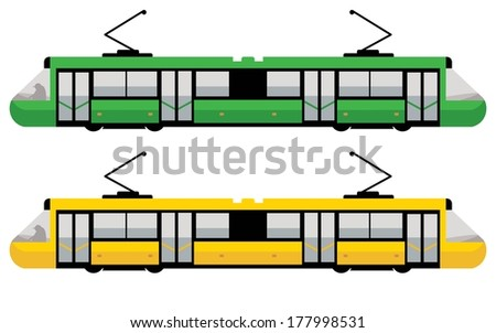 modern tram, green and yellow color - stock vector