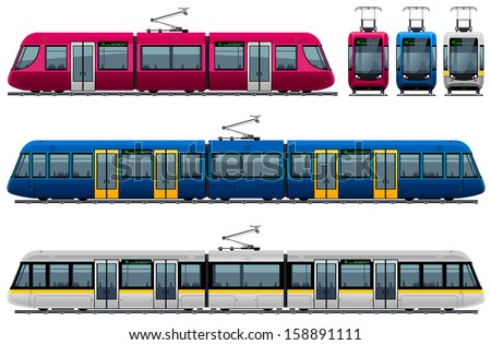 Modern Tram.  Pixel optimized. Elements are in the separate layers. In the side, back and front views. - stock vector