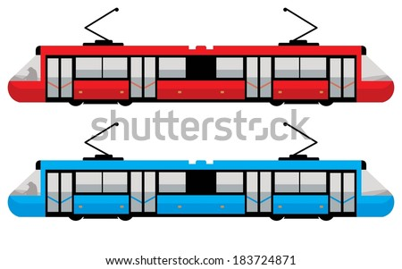 modern tram, red and blue color - stock vector