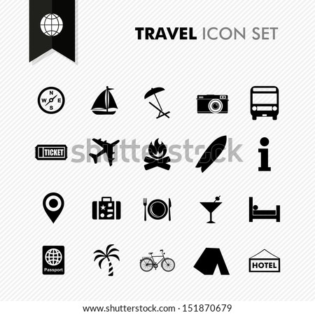 Modern travel vacations and holidays icon set. Vector file in layers for easy editing. - stock vector