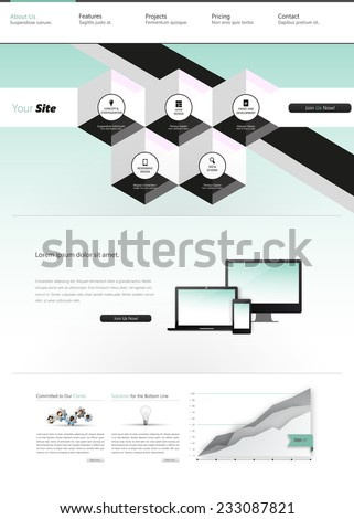 Modern Trendy and Creative Website Template. Abstract web design illustration Eps 10. - stock vector