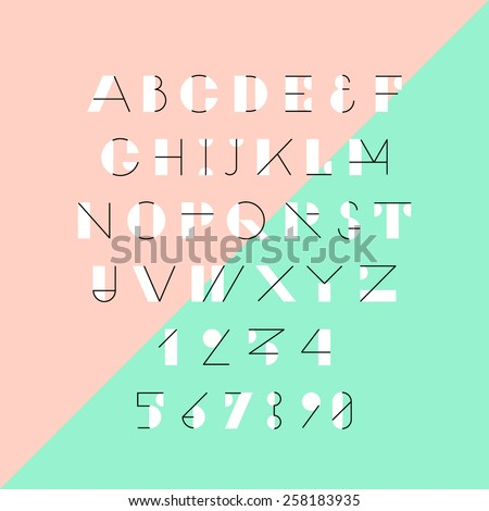 Modern trendy geometric font. High quality vector design element. - stock vector