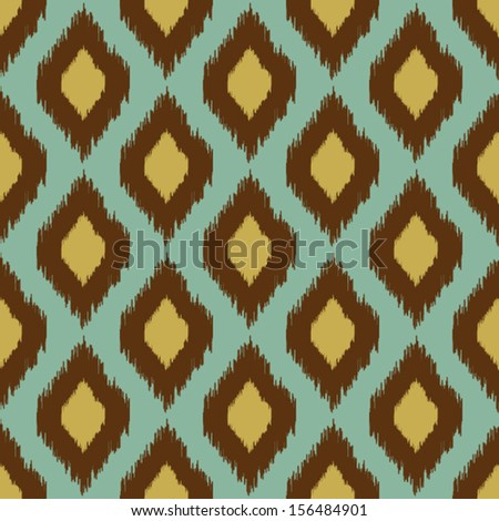 Modern tribal ikat blue yellow modern seamless pattern - stock vector