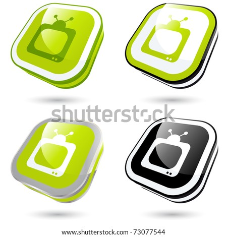 modern tv sign collection in 3D - stock vector
