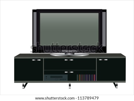 Modern TV table stand with glass shelves