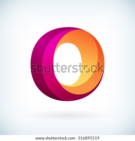 Modern twisted letter o icon design element template - stock vector
