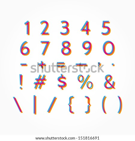 Modern type numbers and symbols with stereo effect. Multicolored typography for your design. Abstract numbers and symbols. Vector illustration eps 10 - stock vector