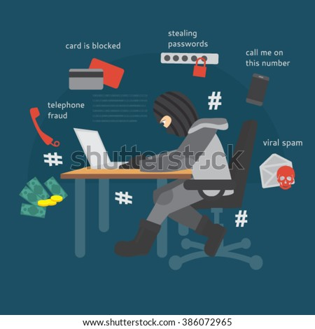 Modern types of fraud. Phone Scam. IT scammers. Hackers. - stock vector