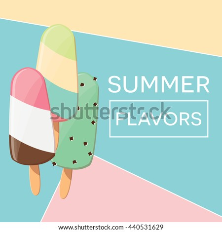 Modern typographic summer poster design with ice cream and geometric elements, vector illustration - stock vector