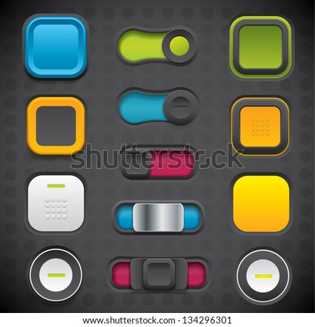 Modern UI button set including switches and push buttons in dark color variations - stock vector
