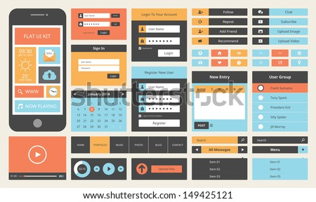 Modern UI flat design vector kit in trendy color with simple mobile phone, buttons, forms, windows and other interface elements.  Isolated on white background.  - stock vector