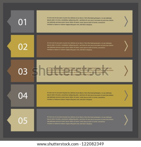 Modern ui style numbered banners, vector design template set 04 - stock vector