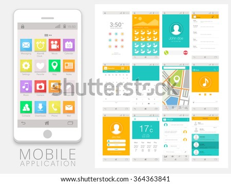 Modern UI, UX, GUI template with flat web icons for Mobile Apps and Responsive Website including Lock Screen, Gallery, Calling, Calendar, Calculator, Map, Music Player, and Messaging Screens. - stock vector