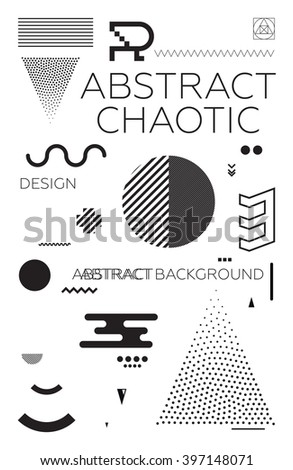 Modern universal chaotic composition of simple geometric shapes in material design. It goes well with the text, poster, magazine, decor. In classic black and white colors - stock vector