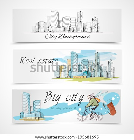 Modern urban big city abstract design horizontal banners set vector illustration - stock vector