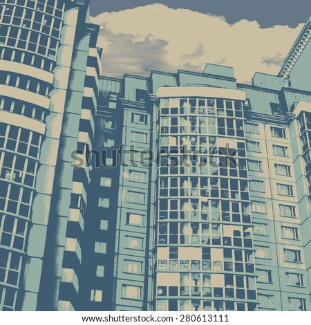 Modern urban buildings. vector illustration - stock vector