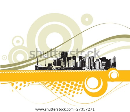 modern urban scene with sample text - stock vector
