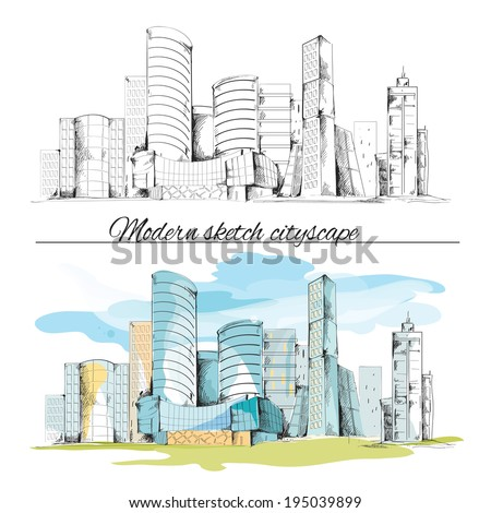 Modern urban sketch building hand drawn cityscape set vector illustration - stock vector